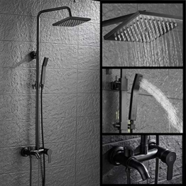 HSer Duschsystem Duscharmatur Regendusche Duschbrause Duschsystem inkl Handbrause Shower Set Höhenverstellbar, Schwarz - 1