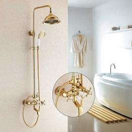 HUASATAO Duscharmaturen Gold Badezimmer Regendusche Wasserhahn Set Mischbatterie Mit Handsprüher Wand Bad Duschkopf Hj-859K - 1