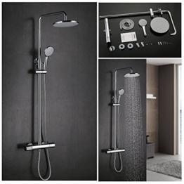 Kinse® 8 Zoll Duschsystem Set Duschkopf Duscharmatur Rainshower Überkopf-Brauseset Messing verchromt Regenbrause mit Thermostat -