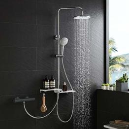 Lonheo 2-Funktionen Edelstahl Duschsystem mit Handbrause, Kopfbrause, Ablage und Höhenverstellbar Duschstange, Duschset Regendusche kann mit Badewannenarmatur und Thermostat Duscharmatur verbinden - 1