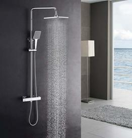 Luxus Dusche mit Thermostat und Regendusche 22x22 cm, höhenverstellbar, Duschsystem, Duschset Duscharmatur mit Thermostat und Handbrause, Verbrühschutz. - 1