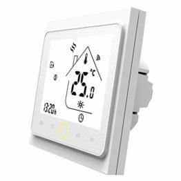 MOES Smart Thermostat WiFi Temperaturregler Smart Life/Tuya APP Fernbedienung für Wasser Gas Boiler Heizung 5+1+1 Programmierbar, Kompatibel mit Alexa Google Home (Weiß) - 1