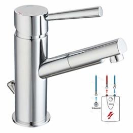 Niederdruck Armatur für Waschtisch Einhebel-mischer Waschbecken Bad Wasserhahn chrom inkl. Ablaufgarnitur mit Zugstange - 1