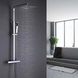 ONECE Duschsystem Thermostat Regendusche mit Edelstahl Kopfbrause Duschgarnitur Quadratisch Duschsäule Duschset Duscharmatur mit Messing Handbrause - 1