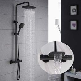 PHASAT Duschsystem Schwarz Thermostat Duscharmatur Duschset Regendusche mit 3 Funktion Handbrause und Überkopfbrause SB05 - 1