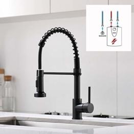 QD Niederdruck Wasserhahn Küche Schwarz Spültischarmatur Armatur Kueche Küchenarmatur mit Brause Ausziehbar - 1