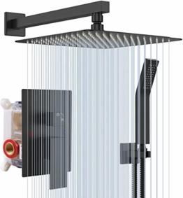 S R SUNRISE Regendusche System in schwarz matt - Advanced Air Injection Technology - 30cm*30cm quadratischer Regenduschkopf - einfache Installation - Edelstahl und Messing - 1
