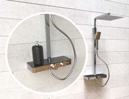SCHÜTTE OCEAN Duschsystem mit Thermostat und Glasablage-Duschset mit 30x30cm, Regendusche mit Wandhalterung und Duschkopf-Duschpaneel Duschsäule in Chrom/Anthrazit 60531 - 1