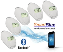 SmartBlue Heizköperthermostat Bluetooth 5-er Set, Programmierung über Smartphone oder Tablet - 1