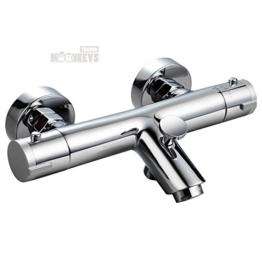 Thermostat Wannen Armatur Mischbatterie Dusche und Bad mit ECO Wasserspar-Funktion und Brauseschlauchanschluss -