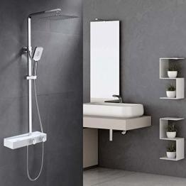 Umi. by Amazon - Thermostat Duschsystem Eckig Duschpaneel Duscharmatur Duschset 3 Strahlarten Handbrause Regenbrause - 1