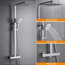 WOOHSE Duschsystem mit Thermostat Regendusche Duschset Edelstahl Duschsäule mit Kopfbrause, 3 Strahlarten Handbrause und Verstellbarer Duschstange Brausegarnitur Duscharmatur Dusche Duschsäule für Bad - 1