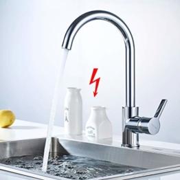 WOOHSE Niederdruck Küchenarmatur Spültischarmatur Küche Armatur Wasserhahn 360° Schwenkbar Mischbatterie Einhebelmischer Niederdruckarmatur Einhandhebelmischer für Untertischgerät - 1